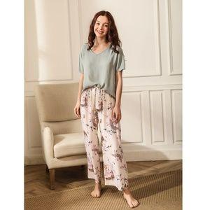 Pastel Green & Pink Floral 2 Piece Pajama Set